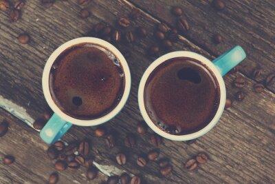 Plakat dwie szklanki świeżej kawy