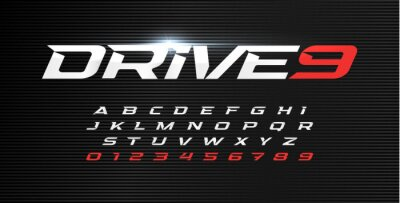Plakat Dynamic letters and numbers set. Drive alphabet, dynamic font, wind type for modern sport logo, motion headline and action lettering. Vector typographic design.