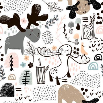 Plakat Dziecięcy bezszwowy wzór z łosiami w drewnianych i abstrakcjonistycznych kształtach. Modny skandynawski tło wektor. Idealny do odzieży dziecięcej, tkanin, tekstyliów, dekoracji dziecinnych, papieru do