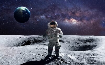 Plakat Dzielny astronauta na spacewalk na Księżycu. Ten obraz elementy dostarczone przez NASA.