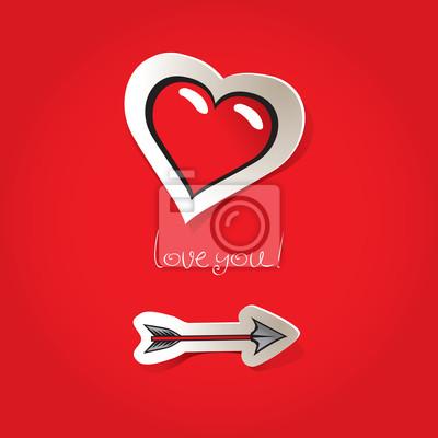 Plakat Dzień karta Walentynki na strzałkę iserce