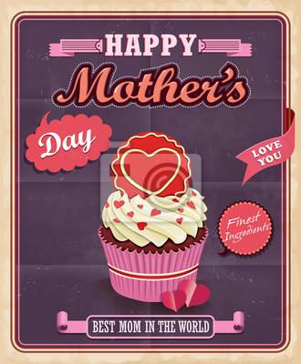 Plakat Dzień Matki z rocznika Cupcake projektowania plakatu