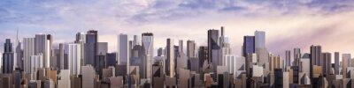 Plakat Dzień panorama miasta / 3D render nowoczesnego miasta w ciągu dnia pod jasnego nieba