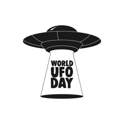 Plakat Dzień świata UFO. UFO latająca spodeczek ikona odizolowywająca na białym tle.