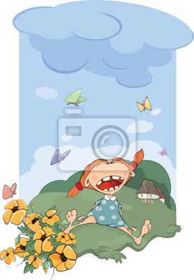 6b25f254386241 Plakat Dziewczynka w ubrania mama. Pokaz mody. Rysunek na wymiar ...
