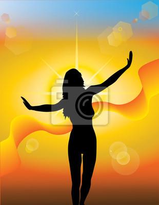 Plakat Dziewczyna sylweta na tle słoneczny