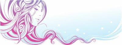 Plakat Dziewczyna z gładkiej ringlety dekoracyjne.