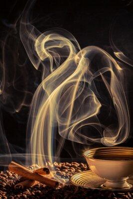 Plakat Dziwny dym unoszący się nad palonej kawy
