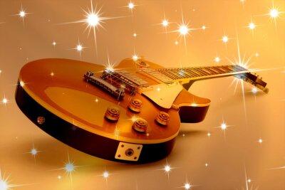 Plakat E-Gitarre vor Sternhintergrund