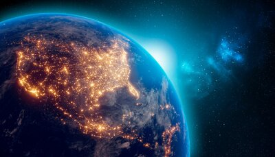 Plakat Earth at night from outer space with city lights on North America continent. 3D rendering illustration. Earth map texture provided by Nasa. Energy consumption, electricity, industry, ecology concepts.