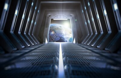 Plakat Earth seen from inside a space station