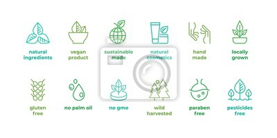 Plakat Eco line badge. Handmade eco logos, natural organic cosmetics vegan food symbols, Vector linear gluten free, no gmo emblems