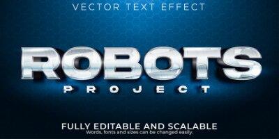 Plakat Editable text effect, metallic robot text style