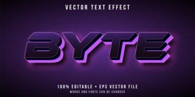 Plakat Editable text effect - purple neon led lights style