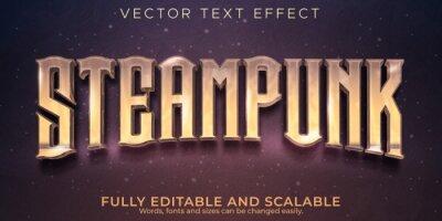 Plakat Editable text effect, steampunk vintage text style