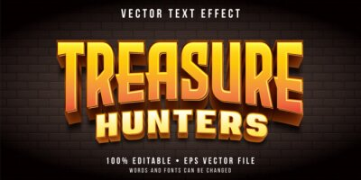 Plakat Editable text effect - treasure hunt game style