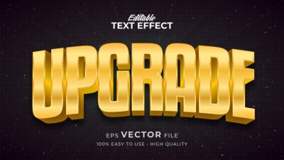 Plakat Editable text style effect - Gold Upgrade text style theme