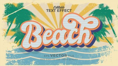 Plakat Editable text style effect - retro summer beach text in grunge style theme