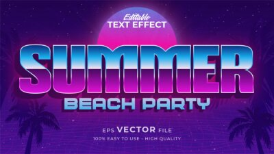Plakat Editable text style effect - retro summer text in 80s style theme
