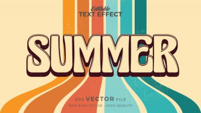 Plakat Editable text style effect - retro summer text in grunge style theme