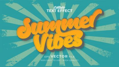 Plakat Editable text style effect - retro summer vibes text in grunge style theme