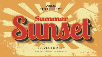 Plakat Editable text style effect - retro sunset summer text in grunge style theme