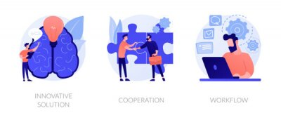 Plakat Effective work icons set. Creative ideas generation, team building, productivity management. Innovative solution, cooperation, workflow metaphors. Vector isolated concept metaphor illustrations