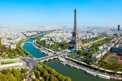 Plakat Eiffel Tower aerial view, Paris