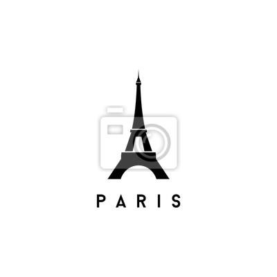 Plakat Eiffel Tower Black Silhouette Vector Illustration