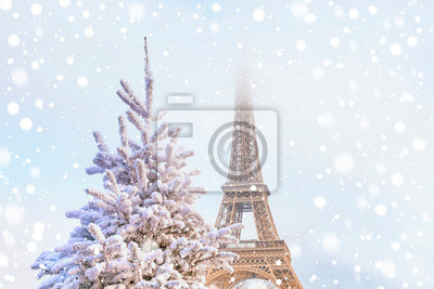 Plakat Eiffel Tower is the main attraction of Paris on the background of decorated Christmas trees in December. Travel Greeting Card with Christmas in Paris, France