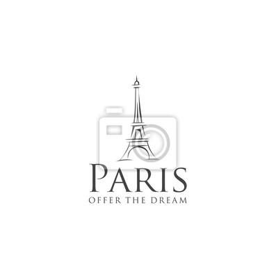 Plakat Eiffel Tower Logo Design Template Paris with a white background