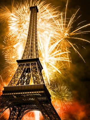 Plakat Eiffel z fajerwerkami