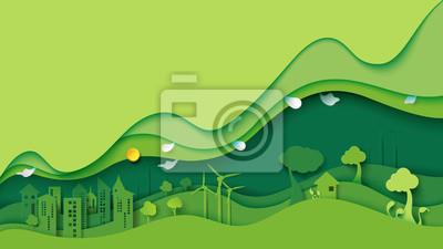 Plakat Ekologii i środowiska konserwaci pomysłu pojęcia kreatywnie projekt Zielony eco miastowy miasto i natura krajobrazowy tło tapetujemy sztuka styl również zwrócić corel ilustracji wektora.