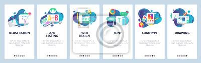 Plakat Ekrany włączenia witryny internetowej. Projektowanie graficzne, projektowanie stron internetowych i logotypów, czcionki komputerowe. Szablon transparent wektor menu do tworzenia stron internetowych i