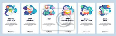 Plakat Ekrany włączenia witryny internetowej. Usługi komputerowe i internetowe, przechowywanie w chmurze i synchronizacja danych. Szablon transparent wektor menu do tworzenia stron internetowych i aplikacji