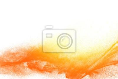 Plakat Eksplozja cząsteczek pyłu żółty pomarańczowy na białym tle. Plusk pyłu w proszku.