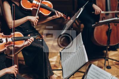 Plakat Elegancki kwartet smyczkowy grający w luksusowym pokoju na weselu w restauracji. grupa ludzi w czerni wykonywania na skrzypce i wiolonczela w teatrze, koncepcja muzyki
