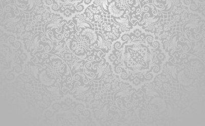 Plakat Elegancki kwiatowy tło wektor. Srebrny stonowanych zabytkowe dekoracyjne tekstury.