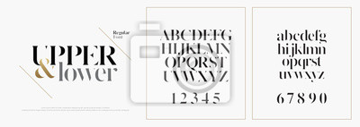 Plakat Elegancki zestaw czcionek liter alfabetu. Klasyczne niestandardowe wzory na logo, plakat. Czcionki typografii to klasyczny styl, regularne wielkie litery, małe litery i cyfry. ilustracji wektorowych
