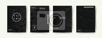 Plakat Elegancki zestaw pokrowców w kolorze czarnym. Abstrakcyjne kształty z gradientami. Modny design. Eps10 wektor.