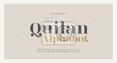 Plakat Elegant alphabet letters font and number. Classic Copper Lettering Minimal Fashion Designs. Typography fonts regular uppercase and lowercase. vector illustration
