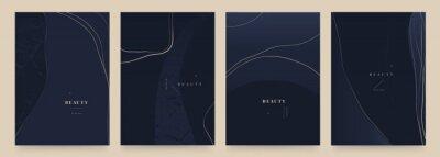 Plakat Elegant dark blue abstract trendy universal background templates. Minimalist aesthetic.