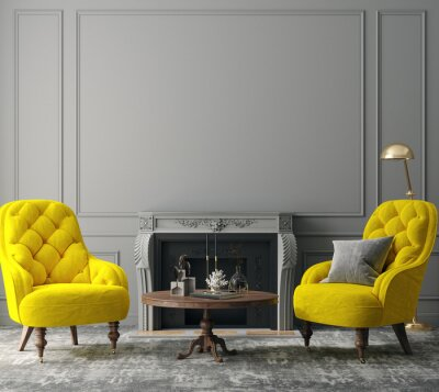 Plakat Elegant dark grey interior with bright yellow armchairs, colors of the year 2021, 3d render