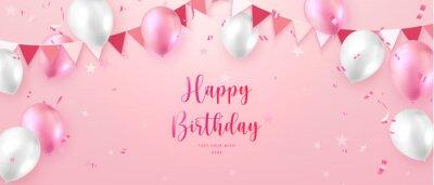 Plakat Elegant vibrant pink ballon and party propper ribbon flag Happy Birthday celebration card banner template background