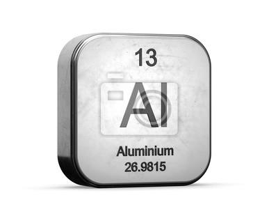 Plakat Element aluminiowy z układu okresowego pierwiastków. Kruszcowa ikona 3D odpłacająca się na białym tle