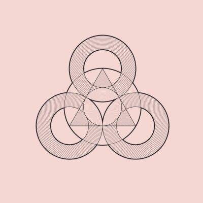 Plakat Element geometryczne, koła i trójkąt, wektor, projektowanie linii