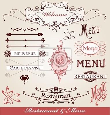 éléments menu restauracji et