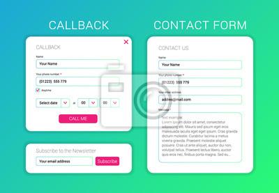 Plakat Elementy interfejsu użytkownika Subskrybuj formularz, formularz kontaktowy, formularz zwrotny.