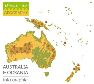 Plakat Elementy mapy fizycznej Australii i Oceanii. Zbuduj swoją własną graficzną kolekcję informacji geograficznych