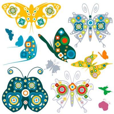 Plakat elementy retro, kwiaty i motyle